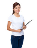 Woman hold with clipboard Royalty Free Stock Image