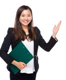 Woman hold clipboard present Royalty Free Stock Photo