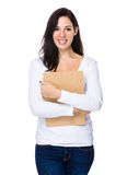 Woman hold with clipboard Royalty Free Stock Photo