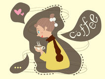 Woman hold coffee cup, she love to drink coffee Stock Image