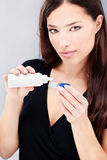 Woman hold contact lenses cases and cleaning Stock Images