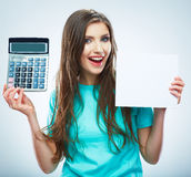 woman hold count machine. Isolated female portrait. Royalty Free Stock Photography