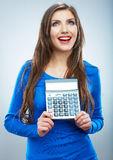 woman hold count machine. Isolated female portrai Stock Image