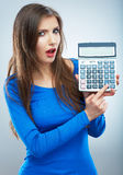 woman hold count machine. Isolated female portrai Stock Photo