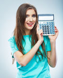 woman hold count machine. Isolated female portrai Royalty Free Stock Photos
