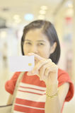 Woman hold credit card Stock Image