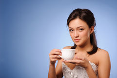 Woman hold cup Royalty Free Stock Photography