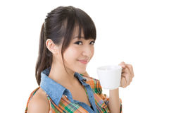 Woman hold a cup of coffee Royalty Free Stock Images