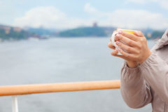 Woman hold cup in hands Royalty Free Stock Photo