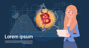 Woman Hold Digital Tablet Golden Bitcoin Modern Currency Crypto Web Charts And Graphs Background. Vector Illustration Stock Image