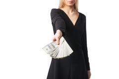 Woman hold dollars, close up Stock Photos