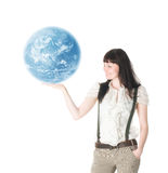 Woman hold  earth Stock Photos