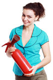 Woman hold extinguisher Royalty Free Stock Photo