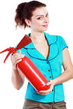 Woman hold extinguisher Stock Images
