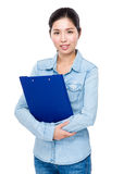Woman hold with file pad Stock Image