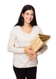 Woman hold with folder Royalty Free Stock Images
