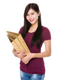 Woman hold with folder Royalty Free Stock Image