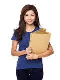 Woman hold with folder Stock Photos