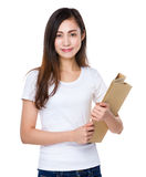 Woman hold with folder Stock Photo