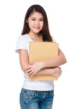 Woman hold with folder Stock Images