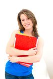 Woman hold a folder Stock Photo