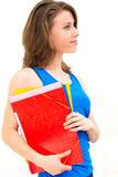 Woman hold a folder Stock Images