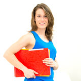 Woman hold a folder Royalty Free Stock Photo
