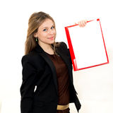 Woman hold a folder Royalty Free Stock Photos