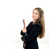 Woman hold a folder Stock Image