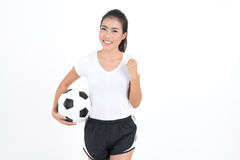 Woman hold football Royalty Free Stock Photo