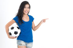 Woman hold football Royalty Free Stock Images