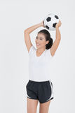 Woman hold football Stock Photos