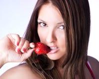 Woman Hold Fresh Strawberry Stock Photos