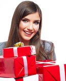 Woman hold gift Stock Photos