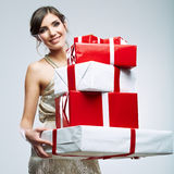 Woman hold gift Royalty Free Stock Images