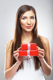 Woman hold gift box isolated portrait. Beautiful model , long h Royalty Free Stock Photos