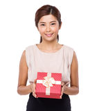 Woman hold with gift box Stock Image