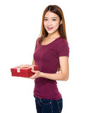 Woman hold with gift box Stock Photos