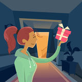 Woman Hold Gift Box Present, Cartoon Girl At Home Stock Photography