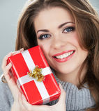 Woman hold gift Royalty Free Stock Photography