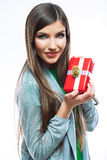 Woman hold gift. Stock Photo