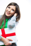 Woman hold gift. Royalty Free Stock Image
