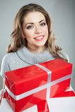 Woman hold gift. Royalty Free Stock Photo