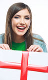 Woman hold gift  Stock Photo