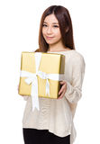 Woman hold with giftbox Stock Image