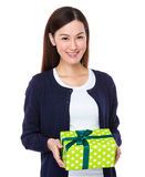 Woman hold with giftbox Stock Photos