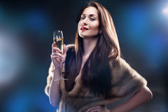 Woman hold glass of Champagne Royalty Free Stock Photos