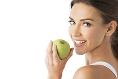 Woman hold green apple Stock Photos