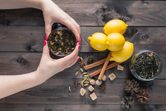 Woman hold in hands glass cup tea Stock Images