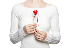Woman hold heart on stick Stock Photos